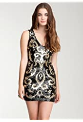 bebe SIZE XS Black Sequin Mesh Dress -GOLD