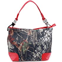 Mossy Oak Camouflage Tote Bag w/ Croco Embossed Trim & Shoulder Strap -Camouflage/ Red