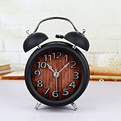 FirstDecor 5'' Non-ticking Silent Quartz Analog Black Retro Two Bells Metal Numbers Vintage Alarm Clocks Small and Fashionable Special Design Desk Clocks Table Clock with Nightlight and Loud Alarm
