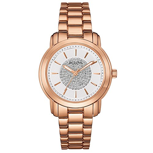 Bulova Accu Swiss Crystal Women's Quartz Watch with Silver Dial Analogue Display and Rose Gold Ion-Plated Bracelet 97L147