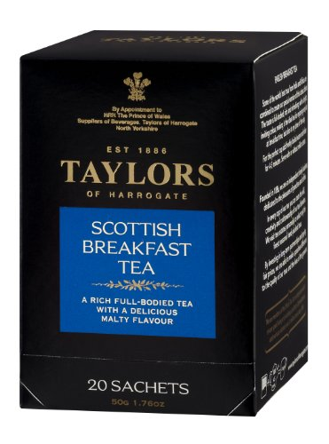 Taylors of Harrogate, Black Tea, Scottish Breakfast Tea, 20-Count Wrapped Tea Bags (Pack of 6)