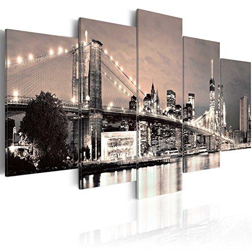 Quadro 200x100 cm ! Tre colori da scegliere - 5 Parti - Grande Formato - Quadro su tela fliselina - Stampa in qualita fotografica - New York 030202-11 200x100 cm B&D XXL