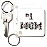 3dRose #1 Mom Number One Mom In Black and Pink Floral Print for Worlds Greatest and Best Mothers Day Key Chains, Set of 2 (kc_151620_1)