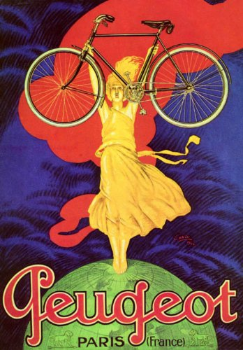 PEUGEOT GIRL HOLDING BICYCLE BIKE CYCLES PARIS FRANCE FRENCH SMALL VINTAGE POSTER CANVAS REPRO