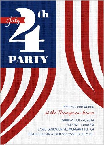 Bbq And Fireworks Summer Invitation White 5X7 Flat Card