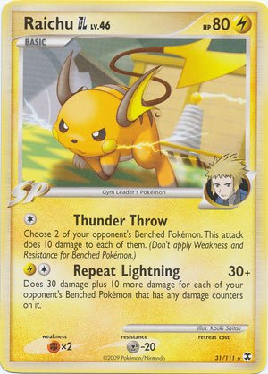 Pokemon Platinum Rising Rivals Single Card Raichu GL #31 Rare [Toy]