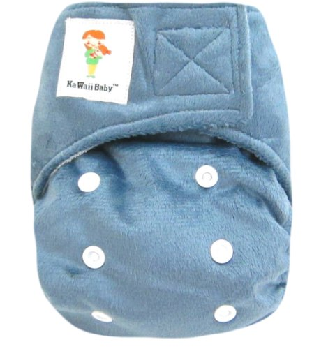 "Kawaii Baby Minky Bamboo Newborn Cloth Diaper 2 Bamboo Inserts 6-22 Lb ""Grey"" - 1"