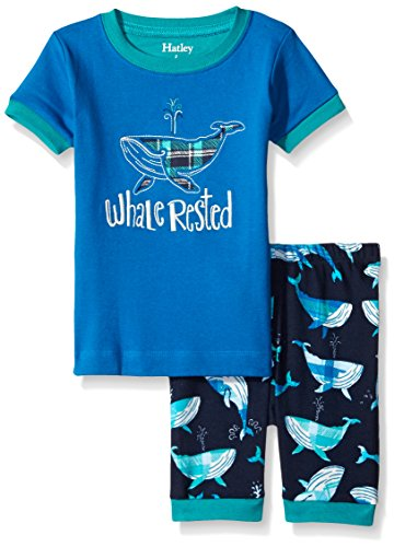 Hatley Big Boys Plaid Whales Short Pajama Set, Blue, 12