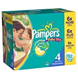 Pampers Baby Dry Diapers Size 4 Economy Pack Plus 192 Count