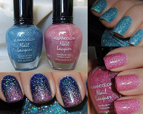 2 Colors Holo Blue & Pink Kleancolor Nail Polish Holographic Glitter Set (Nail Polish Blue Set compare prices)