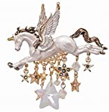 Yasson Classic Christmas Jewelry Flying Horse with White Wings Unicorn Brooch and Pins with 14K Gold Plated Stars Chain Dangle Tassels