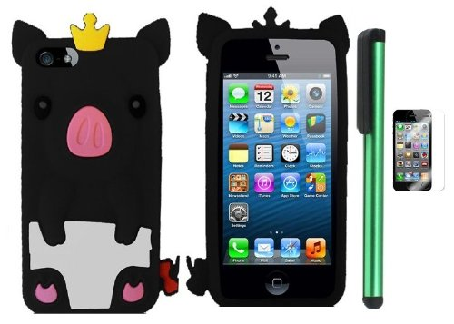 Buy  Black Cute Pig Yellow Crown Silicone Skin Premium Design Protector Soft Cover Case Compatible for Apple Iphone 5 (AT&T, VERIZON, SPRINT) + Screen Protector Film + Combination 1 of New Metal Stylus Touch Screen Pen (4