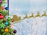 Santa Claus in Silent Night Show Window Wall Art Chrismas Decoration Sticker - Outside Glass - Silver