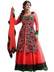 Orange Fab Peach Embroidery Georgette Abaya Style Anarkali Dress Material