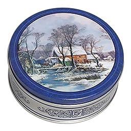 Hoosier Hilll Farm Holiday Chocolate treat Gift Tin, Winter Grist Mill design (Almond Buttercrunch Toffee)
