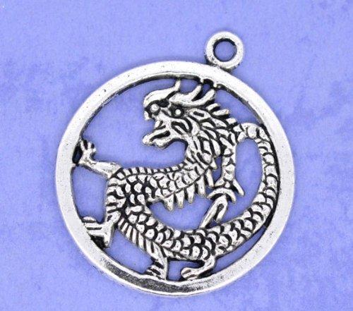 Housweety 20 Silver Tone Dragon Charms Circle Pendants 38x32mm