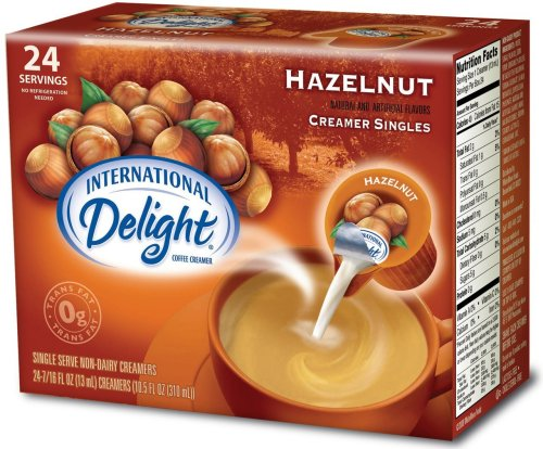 International Delight Hazelnut Non-Dairy Creamer, 24-Count Single Servings (Pack of 6)
