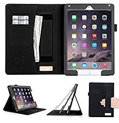 [Luxurious Protection] iPad Air 2 Case, FYY Premium Leather Case Smart Auto Wake/Sleep Cover with Velcro Hand Strap, Card Slots, Pocket for iPad Air 2 Black