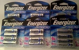 Energizer Ultimate L91BP-4 Lithium AA Battery - 24 Batteries IN ORIGINAL RETAIL PACKS NOT BULK