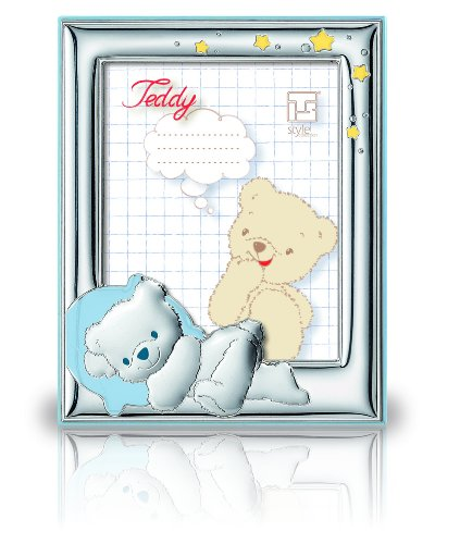Silver Touch USA Sterling Silver Picture Frame Featuring Sleeping Teddybear, Blue