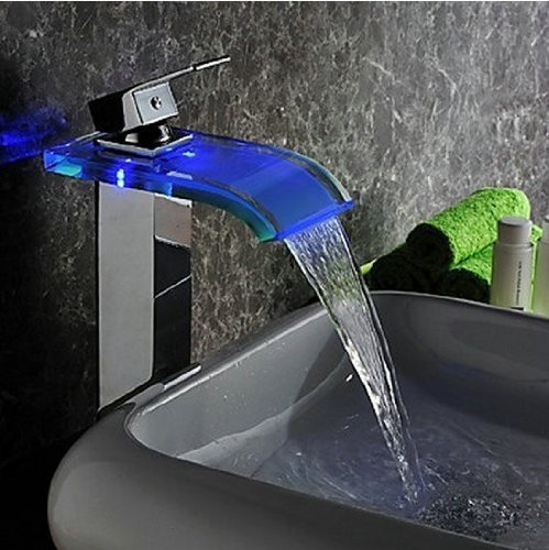 Water Power No Battery 3 Color LED Waterfall Faucet Bathroom Single Handle Basin Mixer Tap . Chrome 96s (Water Mixer Tap compare prices)