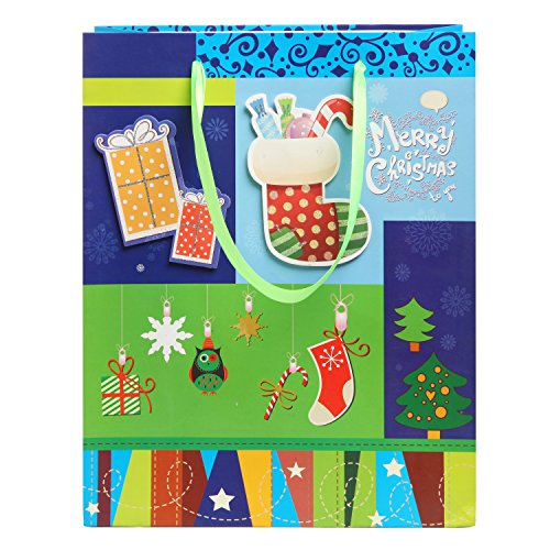 MyGift Merry Christmas / Happy New Year Holiday 3D Party Gift Bags and Tissues - Set of 6
