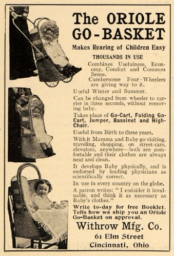 1905 Ad Oriole Go-Basket Converting Baby Carrier Ohio - Original Print Ad
