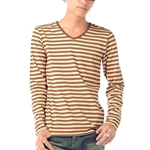 (ベストマート)BestMart ボーダー 長袖 ボーダー Tシャツ カットソー ストレッチ Uネック Vネック 春 夏 606118