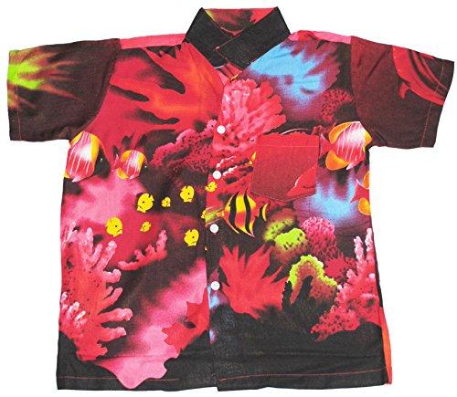 Hawaii Hemd Jungen Tropisch Fisch Jungen Mädchen Kinder - Rot, M EU 110/116