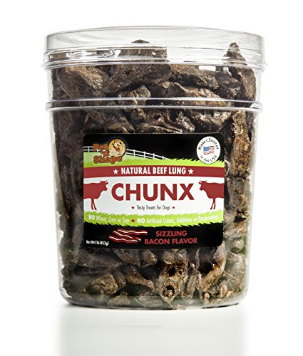 Pet 'n Shape -  Made in USA - CHUNX Beef Lung All Natural Dog Treats, Bacon Flavor, 1-Pound Tub (Pet Bones Made In Usa compare prices)
