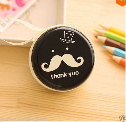 Generic Tin Cool Mustache Pouch For Earphone Pouch Case Coins Pouch,Memory Card Pendrive Pouch Bag Case Pouch Wallet