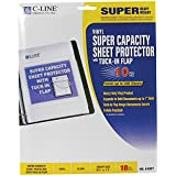 C-Line Super Capacity Sheet Protectors with Tuck-In Flap, Super Heavyweight Vinyl, Clear, 8.5 x 11 Inches, 10 per Pack (61027)