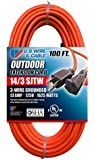 US Wire 63100 14/3 100-Foot SJTW Orange Medium Duty Extension Cord