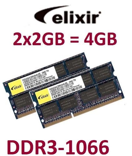 4GB Dual Channel Kit Elixir original 2 x 2 GB 204 pin DDR3-1066 (PC3-8500) 128Mx8x16 double side (M2N2G64CB8HA5N-BE) f&#252;r aktuelle DDR3 Notebooks + MacBook (Late 2008) + MacBook Pro (Late 2008 + 2009) + iMac (2009 Modelle)