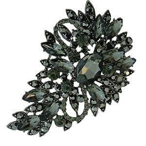 Flower Tear Drop Austrian Crystal Brooch Black-Tone A02600-49