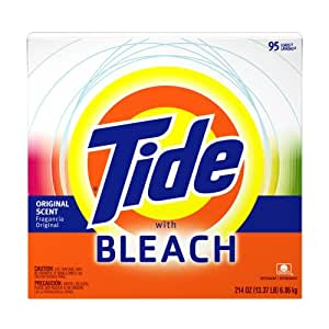 Tide Powder Detergent with Bleach, Original Scent, Case Pack, 95-Load Boxes (Pack of 2)