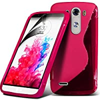 (Hot Pink) LG G3 D855 Elegant S line Hydro Wave Gel Skin Case Cover & Screen Protector By *Aventus*