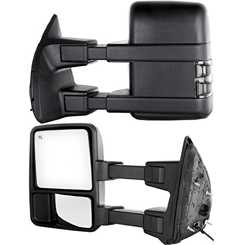 Towing Tow Mirrors Power Heated W/Smoke Signal Telescoping Folding Black Textured and Dual Glass for 03-07 Ford F250 F350 F450 F550 Super Duty Left&right Passenger&driver Side View Mirror Pair Set (2003 Ford F250 Mirrors Set Tow compare prices)