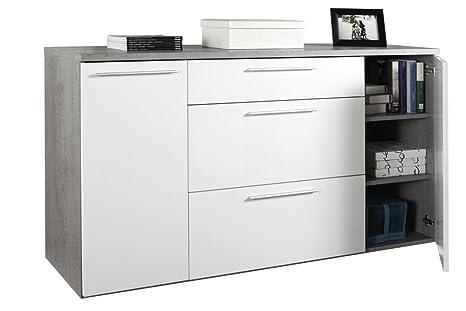 Mobile soggiorno due ante a battente e tre cassetti color cemento e bianco laccato lucido