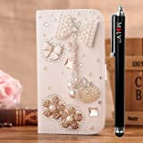 M LV HTC One X OneX Leather Diamond Bling crystal Folio Support Smart Case Cover With Card Holder & Magnetic Flip Horizontals - Diamond Bowknot Flower