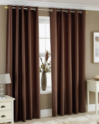 CHOCOLATE BROWN FAUX SILK LINED CURTAINS WITH EYELET RING TOP 66 x 90
