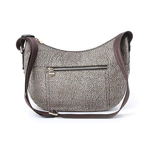 Borsa a tracolla Borbonese Luna Bag small c/tasca in tessuto jet op naturale