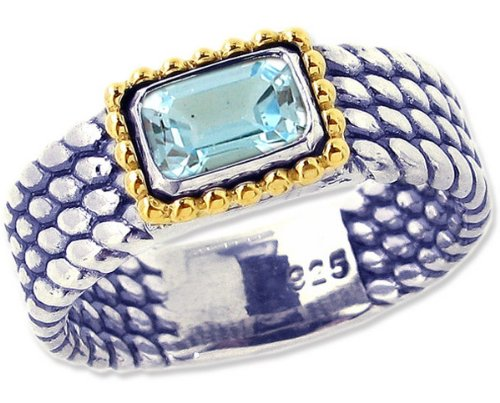 Sterling Silver and 14K Octagon Gemstone Full Bead-Detailed Ring-Sky Blue Topaz-in full,half,quarter sizes from 5 to 9_5.25