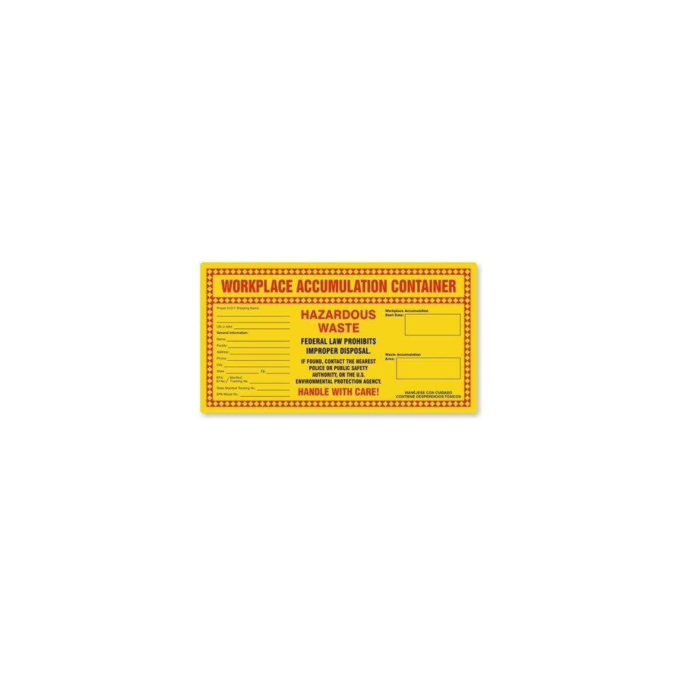 Workplace Accumulation Container  , Paper Labels (from Recycled Stock), 24 Labels / pack, 11 x 6