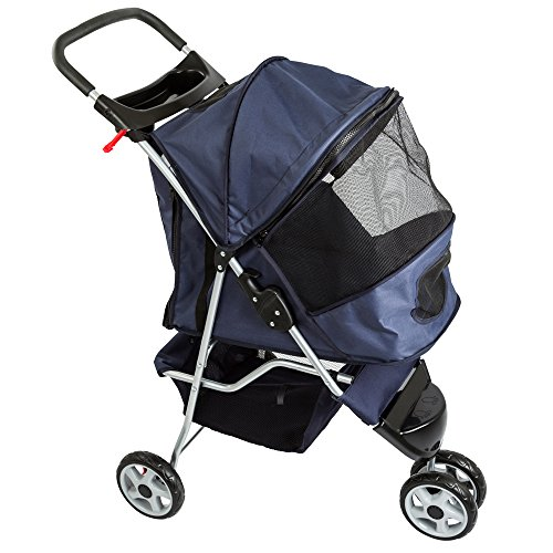 Blue Pampered Pet Jogging Stroller for Small Dogs and Cats