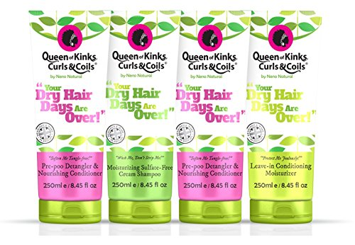 Full Size Natural Hair Product Set: Conditioner + Detangler (x2), Shampoo (x1), Leave-In Moisturizer (x1) - Queen of Kinks, Curls & Coils ~ Your Dry Hair Days Are Over (Moisturizers For Natural Hair compare prices)