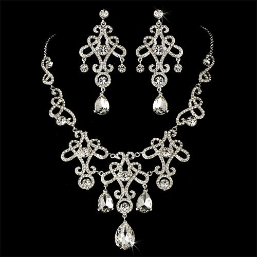 Bridal Jewelry Set, Rhinestone &#038; Crystal Earrings &#038; Necklace 544