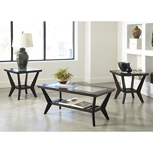 Signature Design by Ashley Lanquist 3 Piece Occasional Table Set, Brown (Brown Coffee Table Set compare prices)