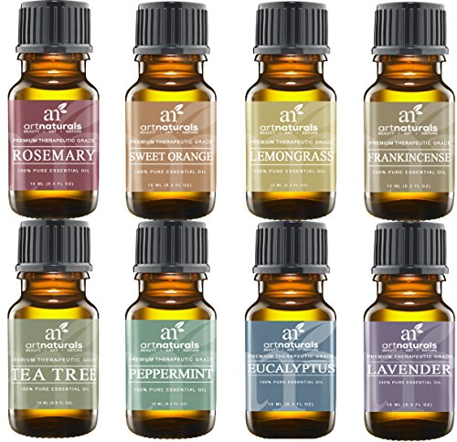 Art Naturals Top 8 Essential Oils Set 10ml each - Lavender, Tea tree, Peppermint, Frankincense, Eucalyptus, Sweet Orange, Rosemary & Lemongrass - 100% Pure Therapeutic Grade - 2016 Edition Kit (Be Young Essential Oils compare prices)