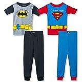 Boys Little Heroes Batman and Superman 4 Piece Cotton Pajama Set, Toddler Sizes 2T-4T